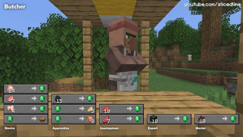 Wie man Handel und Austausch mit den Dorfbewohnern der fleischer in Minecraft