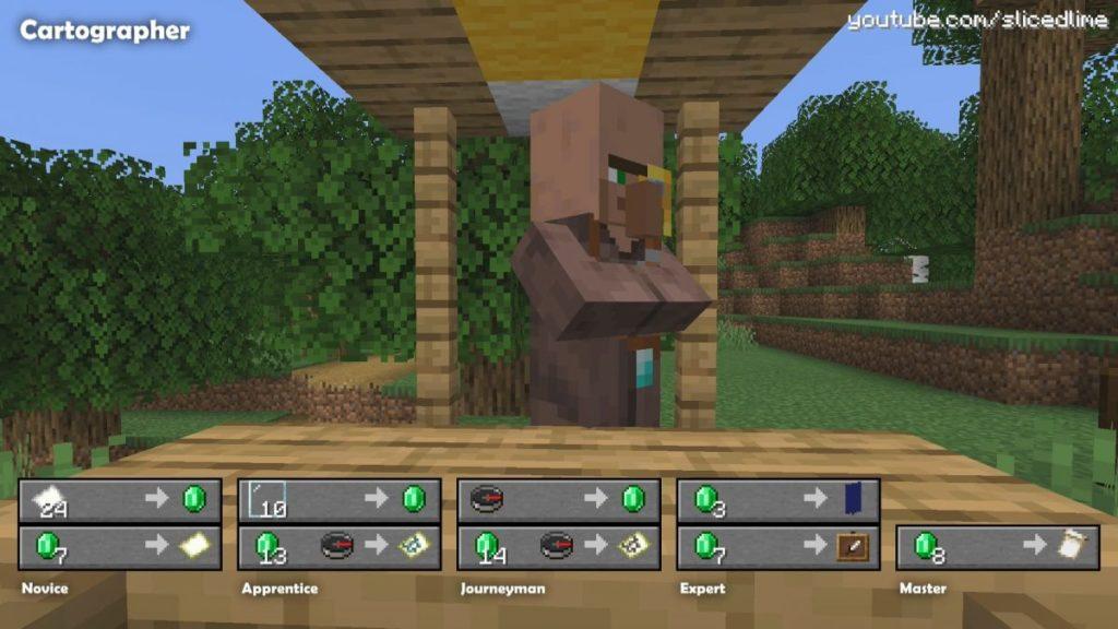 Wie man Handel und Austausch mit den Dorfbewohnern der kartograph in Minecraft