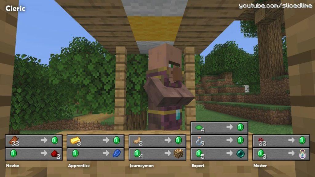 Wie man Handel und Austausch mit den Dorfbewohnern der geistlicher in Minecraft