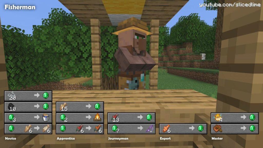 Wie man Handel und Austausch mit den Dorfbewohnern der fischer in Minecraft