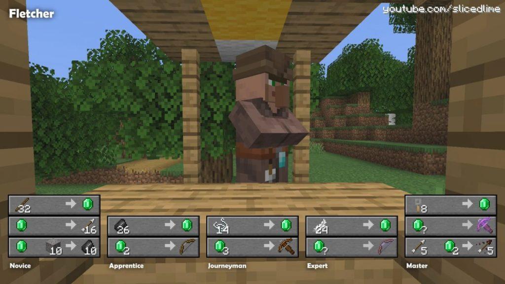 Wie man Handel und Austausch mit den Dorfbewohnern der pfeilmacher in Minecraft