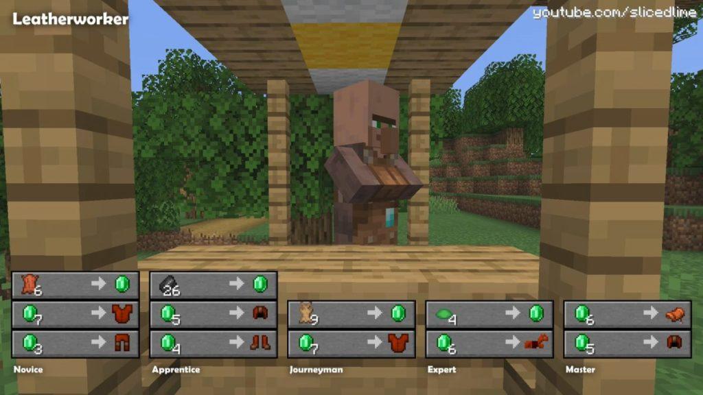 Wie man Handel und Austausch mit den Dorfbewohnern der lederarbeiter in Minecraft
