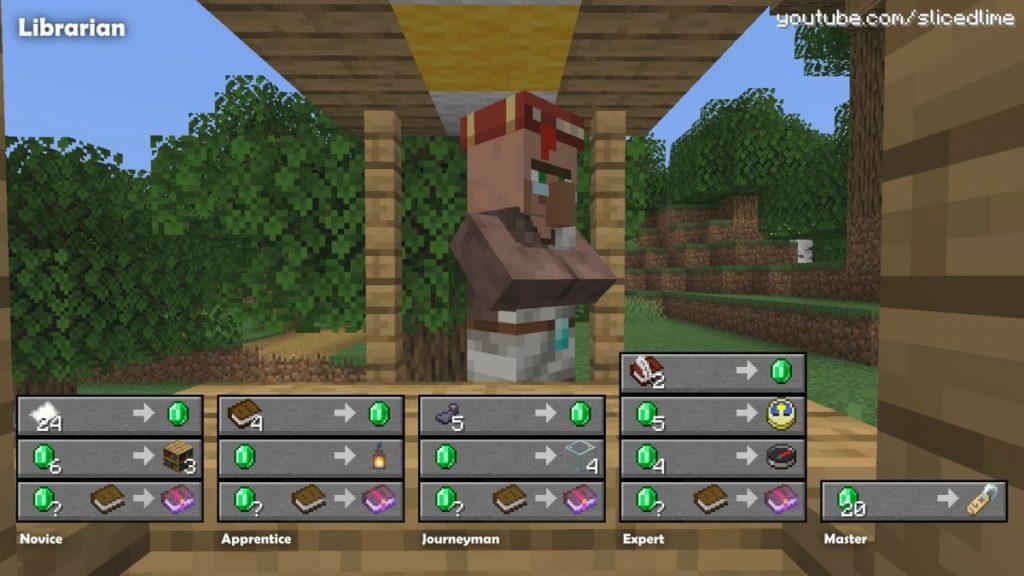 Wie man Handel und Austausch mit den Dorfbewohnern der bibliothekar in Minecraft