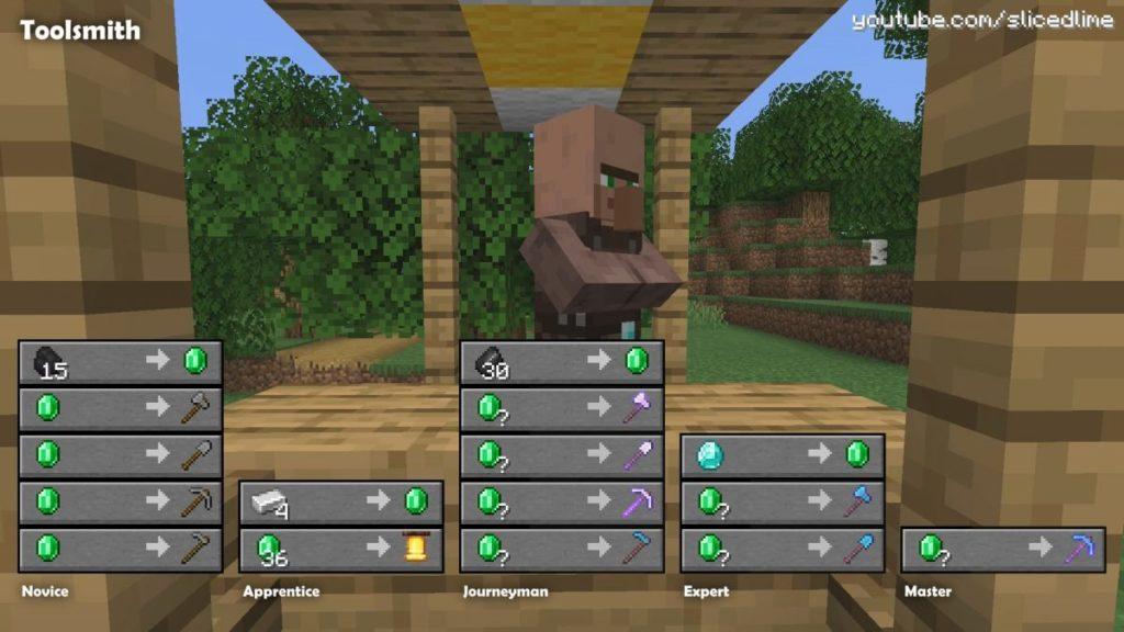 Wie man Handel und Austausch mit den Dorfbewohnern der Werkzeugschmied in Minecraft