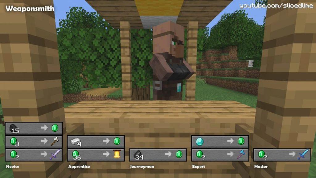 Wie man Handel und Austausch mit den Dorfbewohnern der Waffenschmied in Minecraft