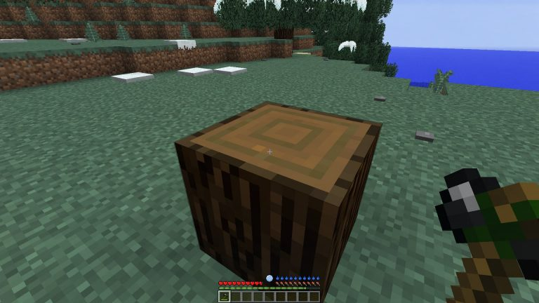 Once the log is placed, right click on the top of the log with a hatchet to extract the wood planks.