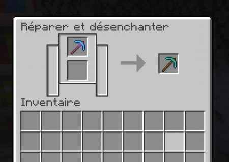 disenchanting minecraft object with grinding wheel