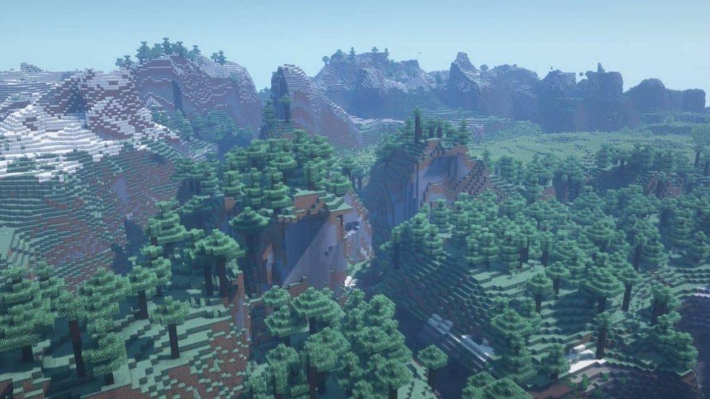 schöner hügeliger Wald